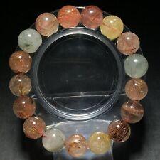 12.5mm Natural Color  Rutilated Quartz Stretch Crystal Beads Bracelet
