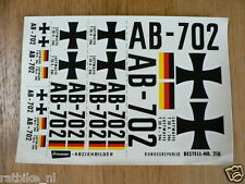GRAUPNER AIRPLANE DECALS,TRANSFERS AB-702,LUFTWAFFE, T33A-246, NR 210 AIRPLANE