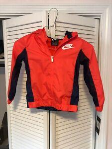 Nike Boys Windbreaker Lined Orange & Blue Size S Brand New W/Tags