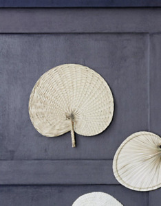 Natural Woven Palm Leaf Hand Fan, Boho Mid Century Natural Rustic Wall Decor