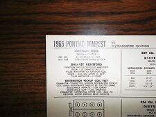 1965 Pontiac Tempest EIGHT Series Models 326 CI & 389 Ci V8 w/TI Tune Up Chart