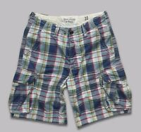 "ABERCROMBIE & FITCH..30""..MEN'S CHECK CARGO COMBAT THICK COTTON LOOSE SHORTS A&F"