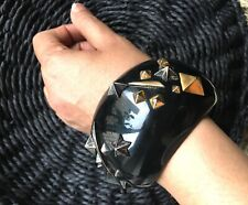 Cuff Bracelet,Gold Silver Metallic Work Rare Alexis Bittar Handcarved Wide Black