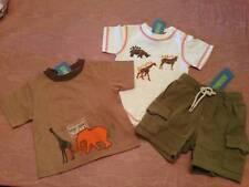 NWT Gymboree Safari Trek 3pc Lot 2 Tops 1 Shorts Baby Boy Layette 3-6 Months