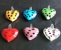 new 100% Handmade Lampwork Glass Murano colors spot heart Pendant Necklace Girl