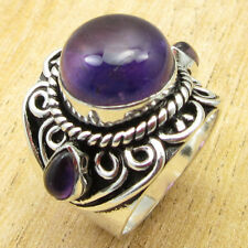 Round, Drop Beautiful Amethyst Gem Ring Size 6.25 ! Silver Plated Metal Jewelry