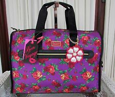 Betsey Johnson Floral Purple Red Travel Luggage Weekender Duffle Bag