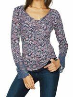 William Rast NWOT Blue Women's Thermal Knit Floral Print Blouse $54 Sz XS