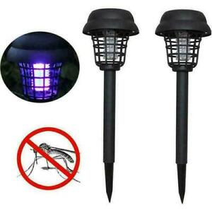 2PCS Solar Powered Outdoor Mosquito Fly Bug Insect Zapper Killer Trap Lamp Light