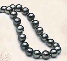 """18""""11-12mm genuine natural tahitian black green perfect round pearl necklace 14k"""