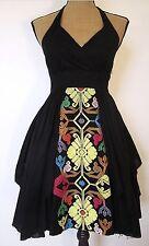 Anthropologie Floreat Black Embroidered Palenque Halter Dress Size 2P