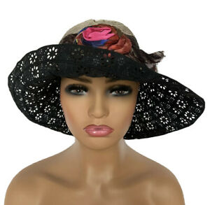 GREVI RIVIERA HAT SUN BUCKET VISOR LACE LARGE BRIM FLORENCE ITALY BRAND NEW CHIC