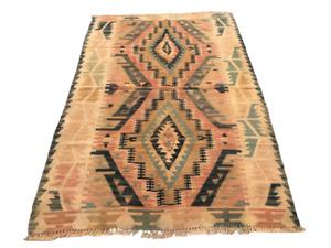 491 Turkish Kilim Rug Vintage Wool Anatolian Handmade Oushak Bohemian Area Rug