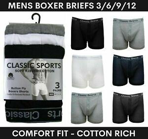 3-12 Pack Mens Plain Boxers Shorts Classic Comfort Underwear Briefs Lot M-2XL