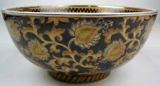 Oriental Accent Decorative Bowl Black White Gold Floral Pattern