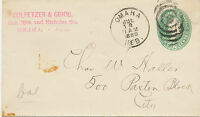 USA 1889, 2 Cents green Washington fine postal stationery envelope locally used