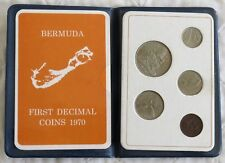 1970 BERMUDA - OFFICIAL MINT UNC SET (5) - 1st DECIMAL COINS - ROYAL MINT WALLET