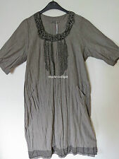 Manga%%% Lagenlook Long vestido Crash lino gris talla II 46-48