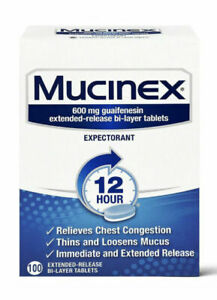 Mucinex Expectorant 12 Hour Extended Release 100 CT 600 mg EXP 2/2023
