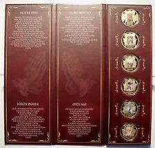 VATICAN PATER NOSTER 6 Colored BU Gold Plated Proof Medals 50mm 52g in Capsules.