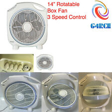 """G4RCE Box Fan 14"""" Inch 3 Speed Rotatable Portable Air Cooling Floor White New UK"""