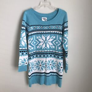 Justice 20 Girl's Blue Embellished Fair Isle Long Sleeve Sweater Dress