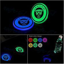 2X 7 Colors LED Car Cup Holder Pad Mat Coaster Auto Atmosphere Light Fit Jaguar