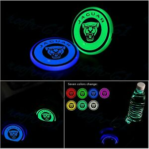 2X 7 Colors LED Car Cup Holder Pad Mat Coaster Auto Atmosphere Light Fit Jaguar