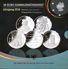 Deutschland 20 € Silber-Gedenkmünzenset 2016, 5 x 20 Euro PP-Spiegelglanz