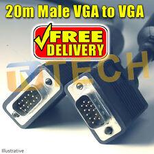 20M VGA SVGA Monitor Cable LCD PC Male to Male D SUB 15 PIN Free Irish Delivery