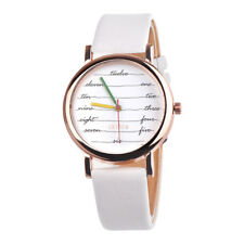 Lady Women Colorful Leather Band Stainless Steel Watch Analog Quartz Wrist Watch