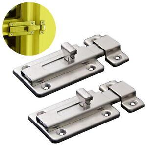 2Pcs Stainless Steel Latch Sliding Door Lock Door Bolt Barrel Bolt for Doors