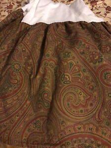 Ralph Lauren Queen Brown Burg Green Paisley Bedskirt