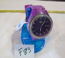 ADIDAS PURPLE & SILVER+CRYSTALS ACCENT DATE WATCH-ADH2104 F83