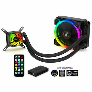 120mm CPU Liquid Cooler, Closed Loop PC Water Cooling, RGB Ring Fans, Intel/AMD