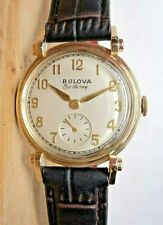 "1949 Bulova~""HIS EXCELLENCY A""~21J USA 10K GOLD FILLED Mens ART DECO Watch"