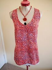 WITCHERY White Coral Blue TOP Size 12 Orange Red Sleeveless Animal Print V-Neck