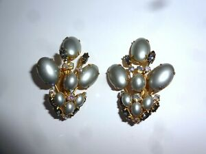 Vintage Alice Caviness Clip On Earrings Faux Pearl Rhinestone