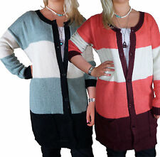 Striped Button Long Sleeve Jumpers & Cardigans Plus Size for Women