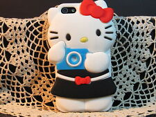 "iPHONE 4 4S 4G "" HELLO KITTY W/CAMERA CASE"" 3D Soft Cover Protection  Black"