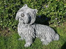 sculpture en pierre chien Westi FIGURINE DE JARDIN Décoration ANIMAL STATUETTE