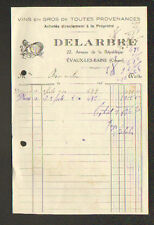 """EVAUX-les-BAINS (23) VINS en gros """"DELARBRE"""" en 1930"""