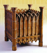 Planter carved oak large Gothic style wood ROT-PROOF hand-stained, resin replica