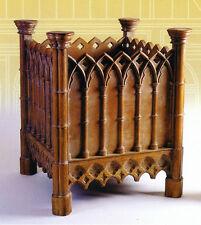 FIORIERA scolpita in rovere Grande Stile Gotico legno imputrescibile Macchiato a mano, replica di resina
