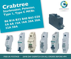 Crabtree Starbreaker Polestar MCBs B6-B63 5A-50A Circuit Breakers - USED