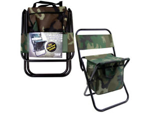 Small Lightweight Camo Camp Chair with storage built in underneath