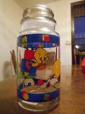 "Taz Tweety Sylvester Looney Toons 1995 Canister 9"" Glass Anchor Hocking Blue Red"