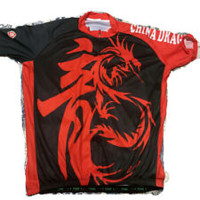TVSSS Mens Cycling Jersey Red Black Dragon Short Sleeve Zip Up Double Sided 4XL