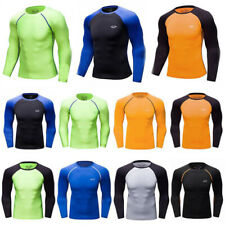 Soild Mens Athletic Running Gym Compression Long Sleeves T-shirts Base Layer Top