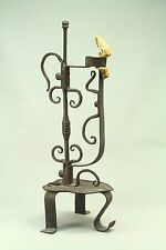 ! Antique Circa 1800 Wrought Iron Rush Candle Holder, Scandinavian, Swedish